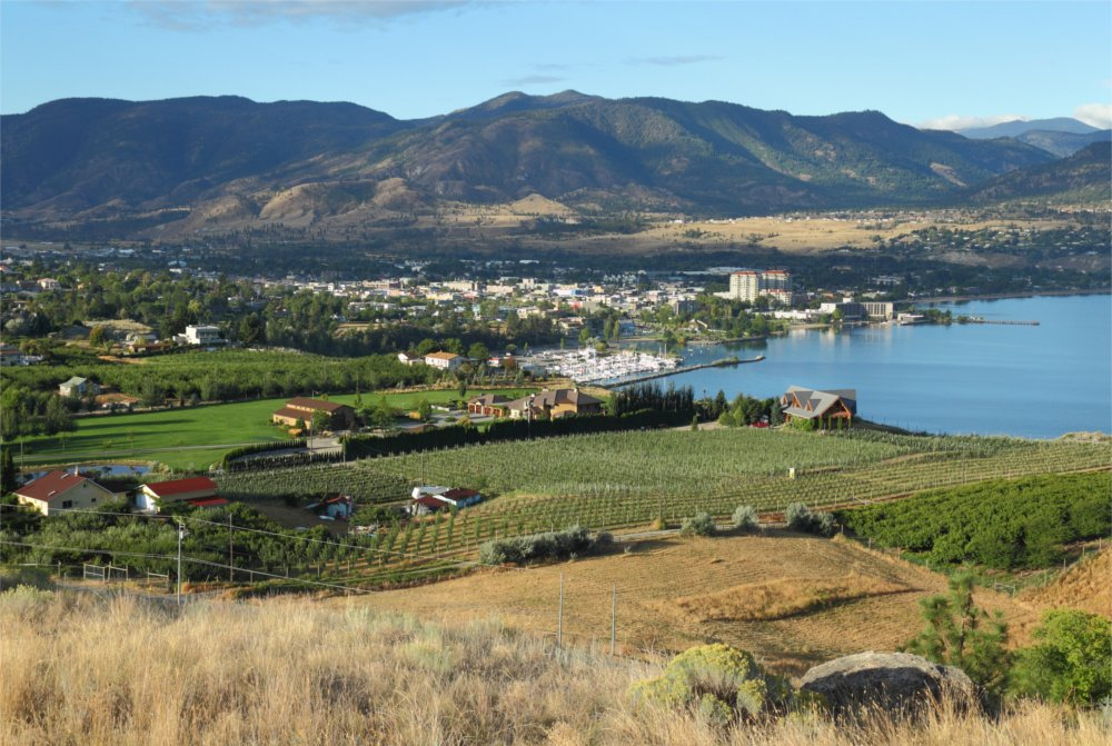 View overlooking vineyard and winery in our beautiful Penticton, BC service area